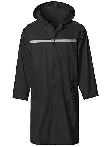 Mens Long Hooded Safety Rain Jacket Waterproof Emergency Raincoat Poncho Black X-Large