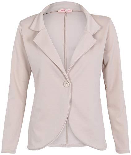 KRISP Sommer Blazer Casual Sweatblazer Damenjacke Kurz Tailliert (Sandstein, Gr.36) (3558-STN-08)