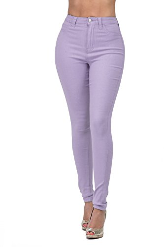 High Waisted-Rise Ladies Colored Denim Stretch Skinny Colored Ripped Distressed Pants Jeans for Women (L, Lilac)