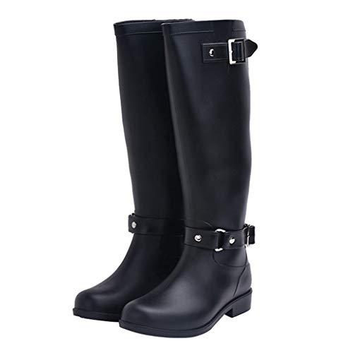 LIXIYU Damen Gummistiefel Gummistiefeletten Schnalle wasserdicht strapazierfähig Gummistiefel Mode Stiefel Damen hochhackige rutschfeste Stiefel Größe,Black1-38