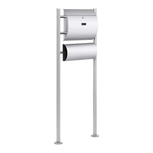 Uniprodo Uni_Letter_02 Standbriefkasten Edelstahl mit Zeitungsfach Briefkasten freistehend 140 cm