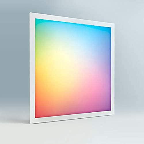 Panel LED techo regulable RGB, 60 x 60 cm, 40W, CCT + RGB, 3000-6000 Kelvin, Panel Slim dimable falso techo marco blanco con mando a distancia