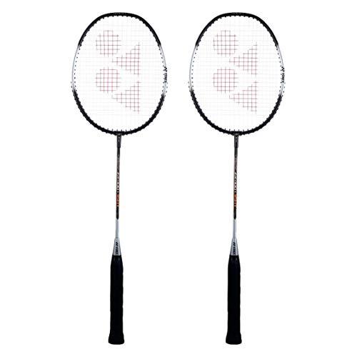 Yonex ZR 100 Light Aluminium Badminton Racquet with Full Cover, Set of 2 (Black/Black) | Made in India