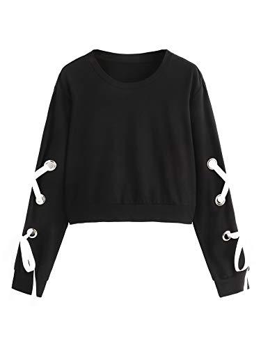 SweatyRocks Women's Casual Lace Up Long Sleeve Pullover Crop Top Sweatshirt (X-Large, 1-Black)
