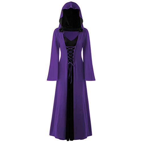 Halloween Kostüm Kapuze Kleider Lang Damen Kostüm Hexe Große Größe,Hoodie Gothic Kleider Spitze Up Patchwork Langarm langes Kleid Karnevalskostüme URIBAKY