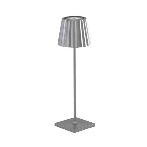 Akku LED-Tischlampe für drinnen und draußen, dimmbare Gartentisch Outdoor Leuchte, Touch Switch, Lampe Garten Außenbereich, 4400 mAh Lithium Akkubetrieb 9 Stunden (titan silber)