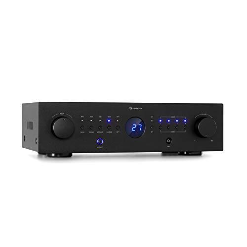 auna AMP-CD950 DG - Amplificador Digital, Multicanal, 4 Salidas estéreo, Potencia Salida 8 x 100 W RMS, Entrada óptica, Bluetooth, AUX, CD/DVD, MP3, Procesador Digital de señales, LED, Negro