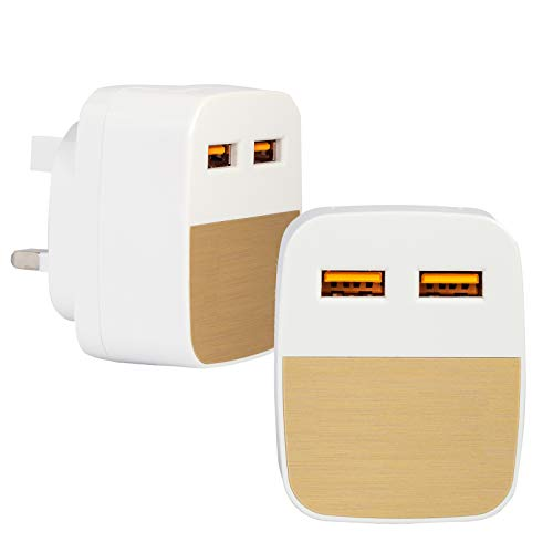 2.1 Amp* IC Tested USB Plug Charger Compatible with iOS 5 5S SE 6 6S PLUS Pro/Air 2/Mini 4, Samsung Dual Port USB Charger, Huawei Wall Charger, Tablet Kindle & Various Phones' Charger (Gold)