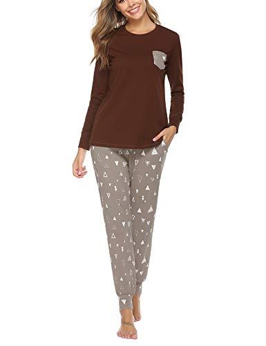 Aibrou Pijamas Mujer Invierno Algodón Mangas Larga Conjunto Camiseta y Pantalones Largo Ropa de Casa 2 Piezas