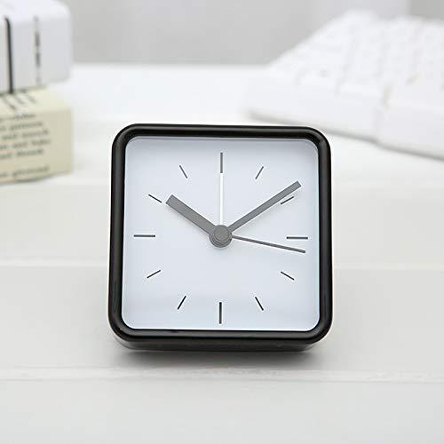 SANMAO Juego de la Manera Sencilla Arte pequeño Reloj Cuadrado de la joyería registró Estudiantes Bedside Reloj Reloj de Escritorio en casa,Negro