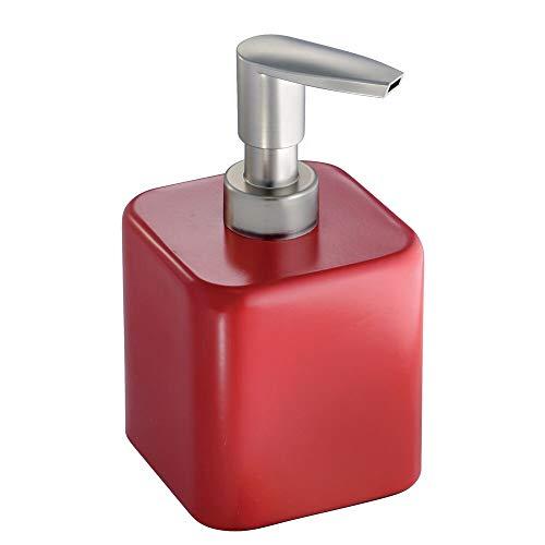 mDesign dispenser sapone ricaricabile – quadrato - colore rosso – perfetto per il bagno e la cucina – capacità 414 ml