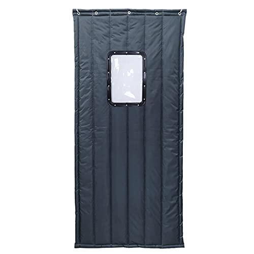 Koncy Wärmeschutzvorhang Tür, Thermovorhang für Haustür Winter Türvorhang Kälteschutz Isolier Schutz Panel-Isolierung Wasserdicht Winddicht (Farbe : Grey, Größe : 90×200cm/35×79inch)