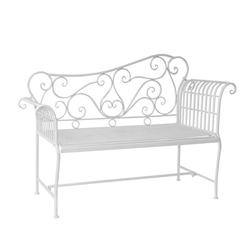 Outsunny Garden 2 Seater Metal Bench Outdoor Seating Furniture w/Decorative Backrest White