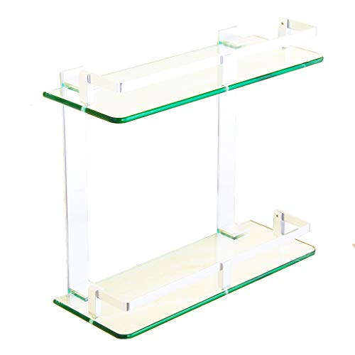 Sturdy Waterproof 2 Tier Tempered Glass Float Shelf Bathroom 7mm Glass, Rustproof Shower Caddy Wall Mounted Shampoo Holder Organizer , Aluminum Alloy Support-250mm