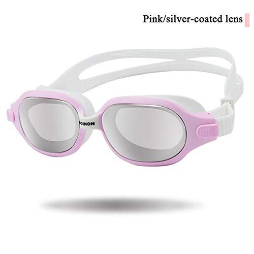 Watersport Zwembril Anti-UV Anti-condens Zwembril heren dames Onderwater Beschermende veiligheid Duikbril, roze montuur