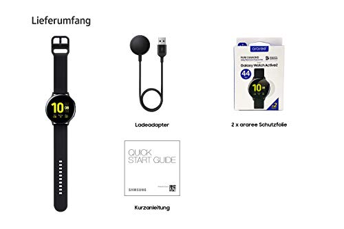 Samsung Galaxy Watch Active2 Explorer Edition, Fitnesstracker aus Aluminium, großes Display, ausdauernder Akku, wassergeschützt, 44 mm, inklusive 2x araree , Schwarz