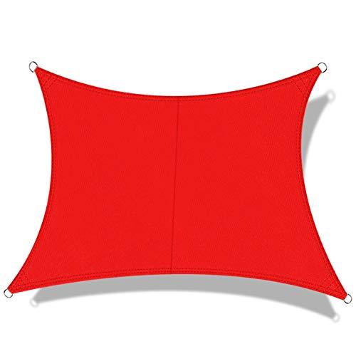 OKAWADACH Toldo Vela de Sombra Cuadrado 3 x 3 m, protección Rayos UV Impermeable para Patio, Exteriores, Jardín, Color Rojo