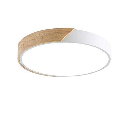 24W LED Deckenleuchte runde Rechteckige Deckenlampe dimmbar mit Fernbedienung LED Flurlampe Küchelampe Wohnzimmer Schlafzimmer Büro (Holz & Metall)