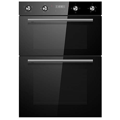 Cookology CDO900BK 90cm Black Glass Built-in Electric Double...