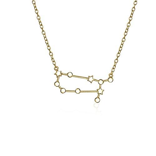 Collar de estrellas de constelación del zodiaco celestial para mujeres, para adolescentes, chapado en oro de 14 quilates, plata de ley