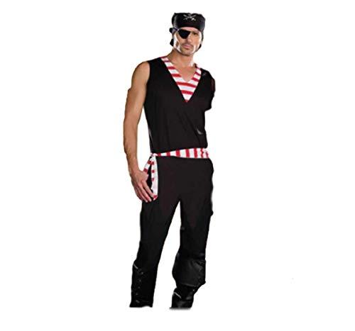 Top Totaal Klassieke Mannen Halloween Party Tweede Generatie Afstammelingen Piraat Kostuum, XL, Rood en Zwart