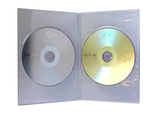 AcePlus 25 Pieces Super Clear Slim Double DVD Cases - 7mm Thickness for 2-Discs with Wrap Around Clear Sleeve for Your Artwork