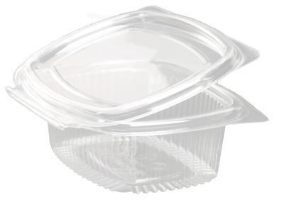der-verpackungs-profi Einweg R-PET Salatschale Klappdeckel Schale glasklar (450 Stück, 500ml oval)