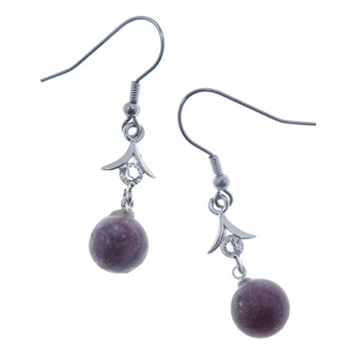 Lepidolita Pendientes 01morado colgantes 10mm piedras preciosas perlas de, brillante corona chakra piedra (caja de regalo)