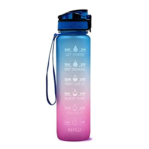 Botella de agua de 1l/32 onzas con marcas de tiempo, botella de agua a prueba de fugas de gran capacidad, libre de BPA y reutilizable, botella de agua motivacional para deportes, (gradiente azul/rosa)