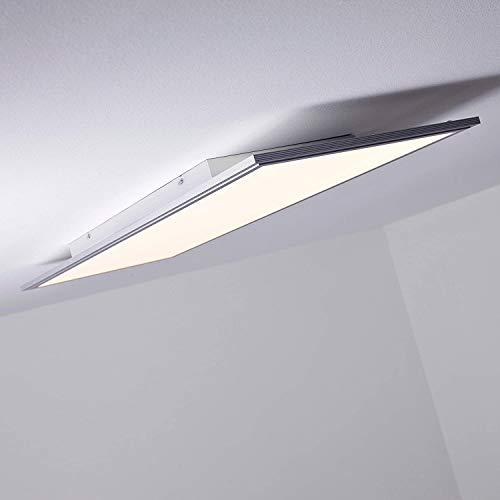 LED Panel Deckenleuchte, dimmbar per Fernbedienung, 100x35cm, 60 Watt, 5000 Lumen, 2700-6500 Kelvin aus Metall/Kunststoff in alu