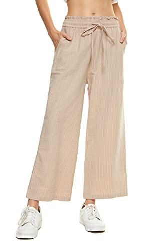 LNX Womens Linen Pants High Waisted Wide Leg Drawstring Casual Loose Trousers with Pockets (XX-Large, Striped-Beige)