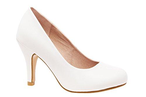 Zapatos de tacón para Mujer - Tacones de Aguja - ESAM422 - Variedad de Materiales y Colores - Tallas pequeñas, Medianas y Grandes - sin Cordones - Zapato de tacón Soft Blanco. EU 43