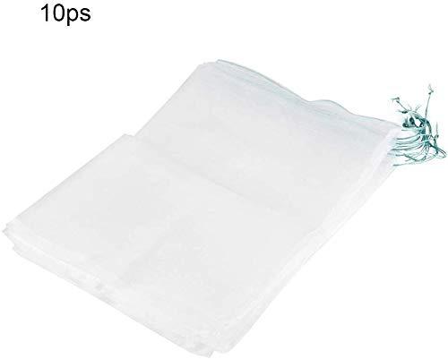 Beschermende zak voor plantenvruchten, 10 stuks, trekkoord, nylon, mesh-zak, tegen insecten, muggen, boeg, past, vogel, oogst, bescherming, tuingereedschap 45 * 30cm