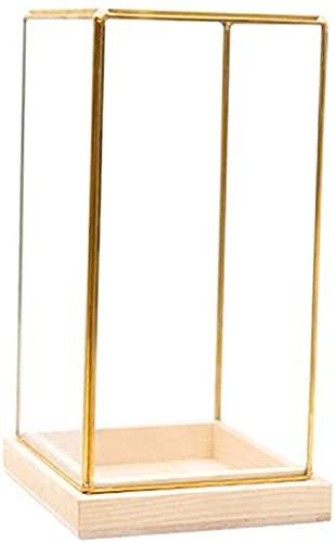 Vitrina decorativa de cristal resistente al polvo con marco de latón, cerradura,...