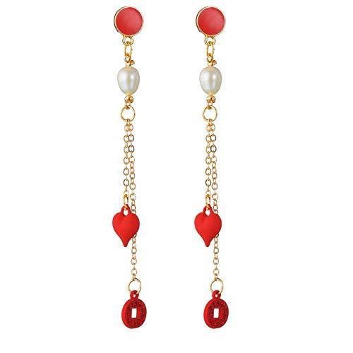 S925 aguja estilo chino petardos pimiento rojo bendicin pendientes largos perla de agua dulce natural proteccin del medio ambiente pendientes de aleacin-E0900D
