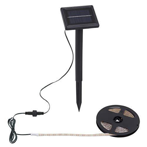 Briloner Leuchten 2055-180, Außen LED Band 3m mit Solar-Panel, IP65, Plastik, Schwarz, 300 x 9.5 x 33 cm