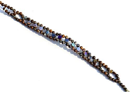 7 inch streng natuurlijke Australische rotsblok opaal 4 mm rondel gladde kralen - verkoop - zeer zeldzame natuurlijke gem Australische rotsblok opaal 4mm munt & 3.5mm maat ronde gladde kralen 7 inch complete armband met zilveren sloten