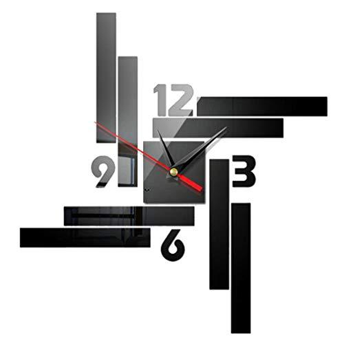NALCY Reloj de pared silencioso y preciso para manualidades, 2 relojes de pared 3D, reloj de pared moderno, decoración para superficies de espejo, decoración para casa, oficina, decoración ⭐