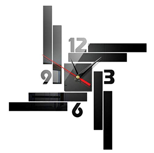 NALCY Reloj de pared silencioso y preciso para manualidades, 2 relojes de pared 3D, reloj de pared moderno, decoración para superficies de...
