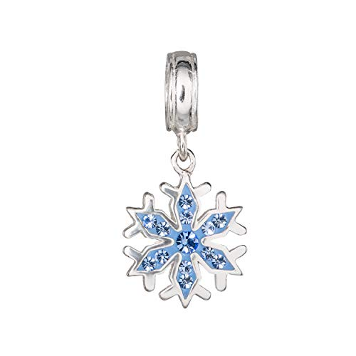 Disney Frozen Sterling Silver Blue Crystal Snowflake Dangle Charm Bead