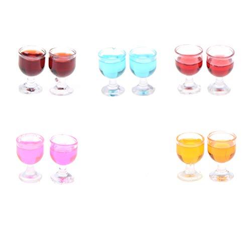 RUIYELE Juego de 10 copas de vino tinto miniatura de 1:12 (10 piezas), mini copa de cóctel de simulación, colorido mini copa de vino tinto, decoración de casa de muñecas y accesorios