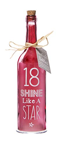 Boxer Gifts Light-Up LED '18' Birthday Glass Starlight Bottle | Beautiful, Decorative Homeware Comes...