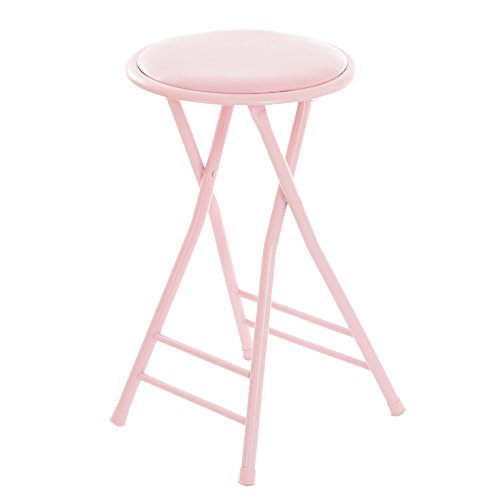 Trademark Home Folding Stool – Heavy Duty 24-Inch Collapsible Padded Round Stool with 300 Pound Capacity for Dorm