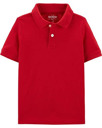 Osh Kosh Boys' Toddler Short Sleeve Uniform Polo, Ruby, 3T