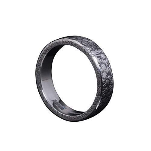 [龍頭] シルバー 950 小花 鎚目 槌目 指輪 5mm幅 シンプル メンズ 12.5号