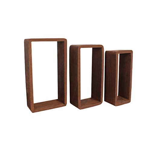 Rebecca Mobili 3er Set Wandregale aus Holz, rechteckige Bücherregale in Dunkelbraun, Rustikal, Wohnaccessoires – Maße: 39 x 21 x 10 cm (HxLxB) – Art. RE4078