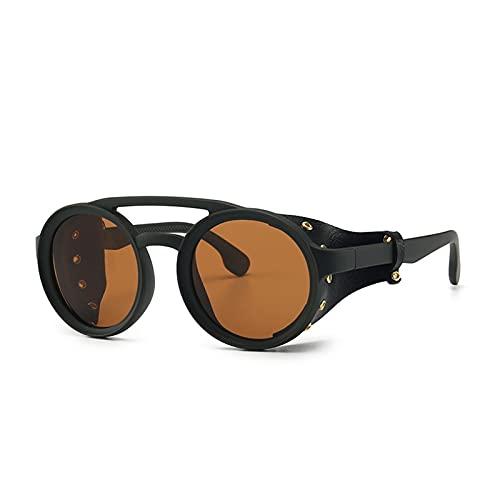 XHJLNNY XINHEJULN Gafas de Sol polarizadas Hombres y Mujeres Cara Estrecha, Gafas de Sol Retro pequeñas de Marco Redondo Exquisito y aplicable (Color : C2 Tea Tea)