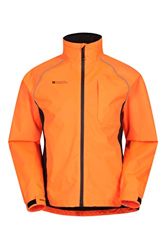 Photo of Mountain Warehouse Adrenaline Mens Waterproof Cycling Jacket – High Vis Reflective Mens Coat, Breathable Unisex Rain Coat – for Outdoors, Running & Walking Orange L