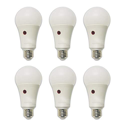 Amazon Basics 60W Equivalent, Dusk to Dawn Sensor, Non-Dimmable, 10,000 Hour Lifetime, A19 LED Light Bulb   Daylight, 6-Pack