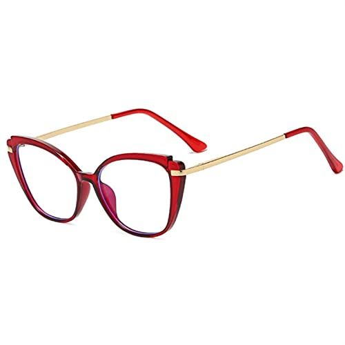 WWWL Gafas de Lectura, Blue Light Bloncking Gafas Marco Mujer Moda Fashion Optical Spectacle Marcos Hombres Vintage Cat Eye Decorative Gafas (Color : Red, Size : +200)